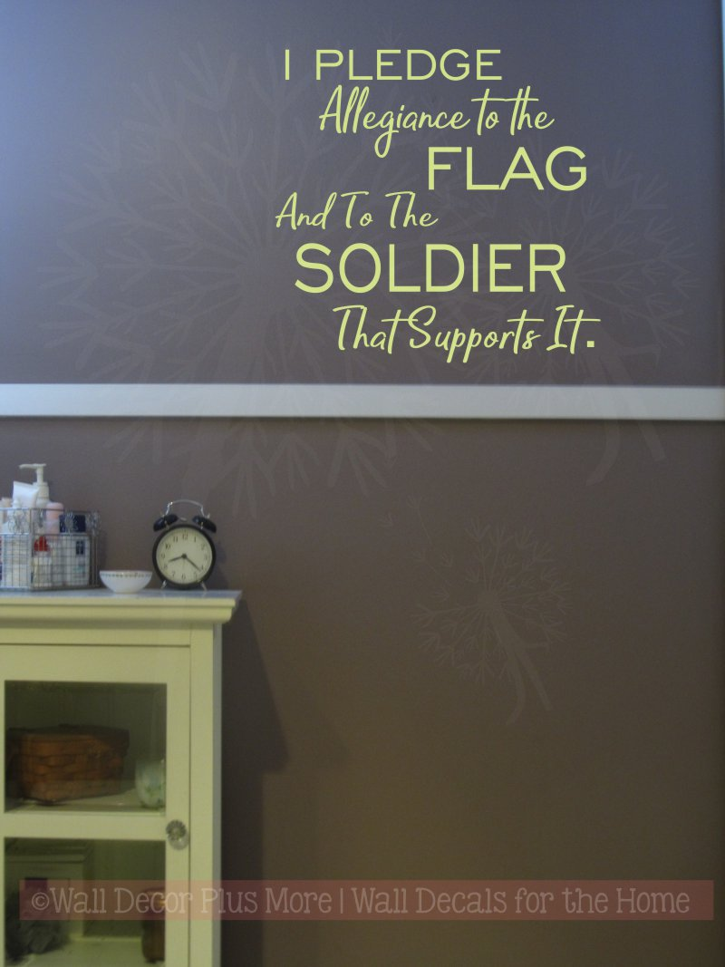 I Pledge Allegiance Military Vinyl Letters Decals Wall Sticker Quote