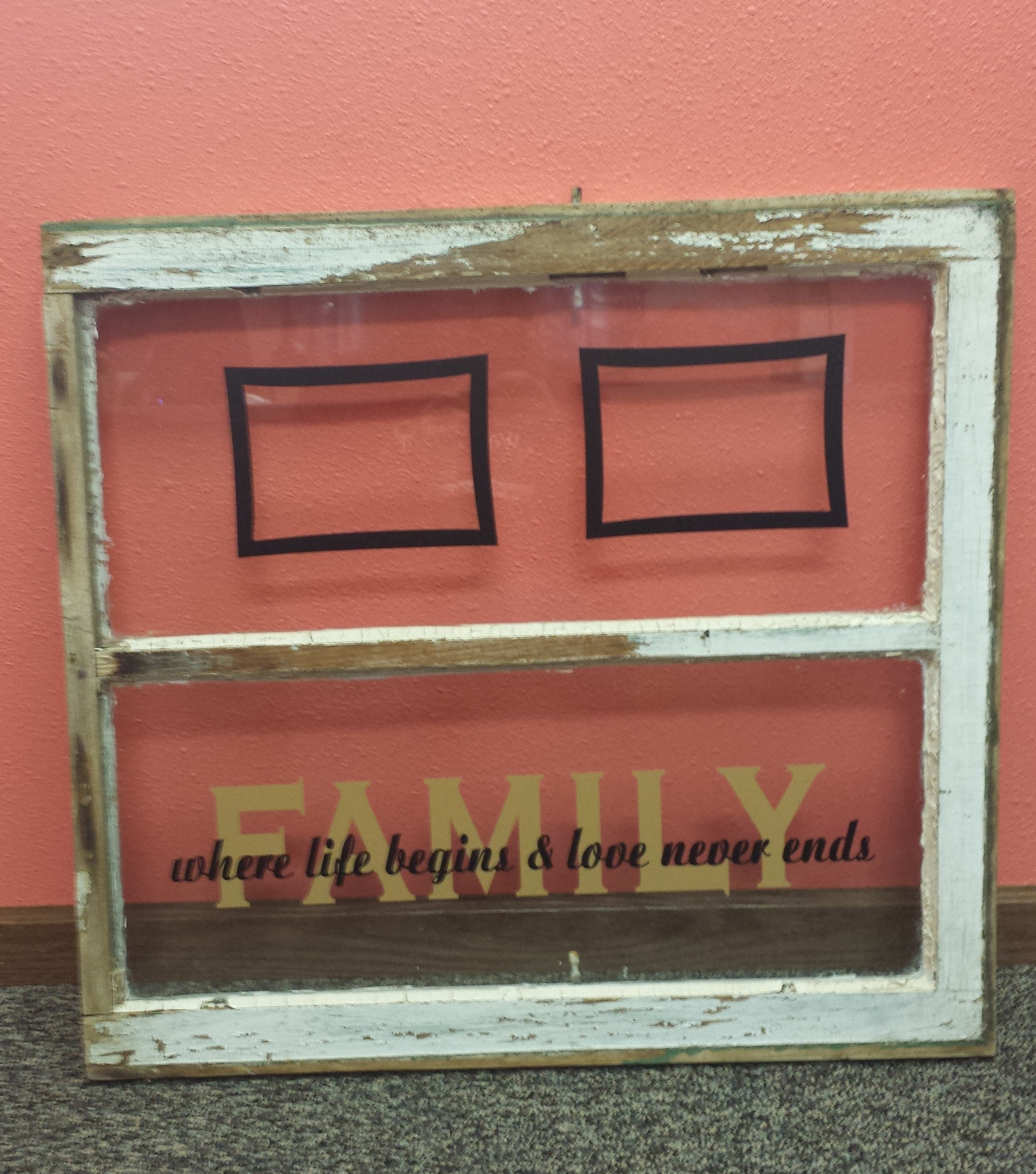 2 color family decal quote overlapped on old window glass