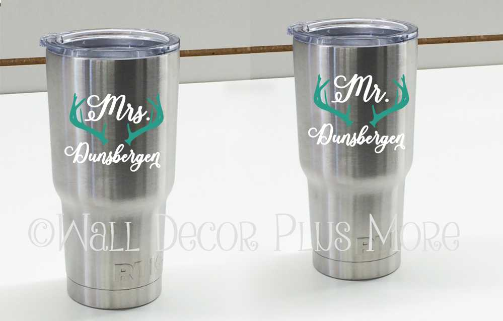 Give them a Personalized Mr. and Mrs. mug set! These decals can easily be applied to Yeti Tumblers or Coffee Mugs.