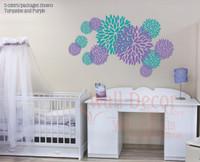 Floral Burst Vinyl Sticker Wall Decals 2-color design Girls Room-Turquoise, Purple