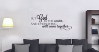 Wall Decals Verse Put God in the Center Religious Vinyl Sticker Quote