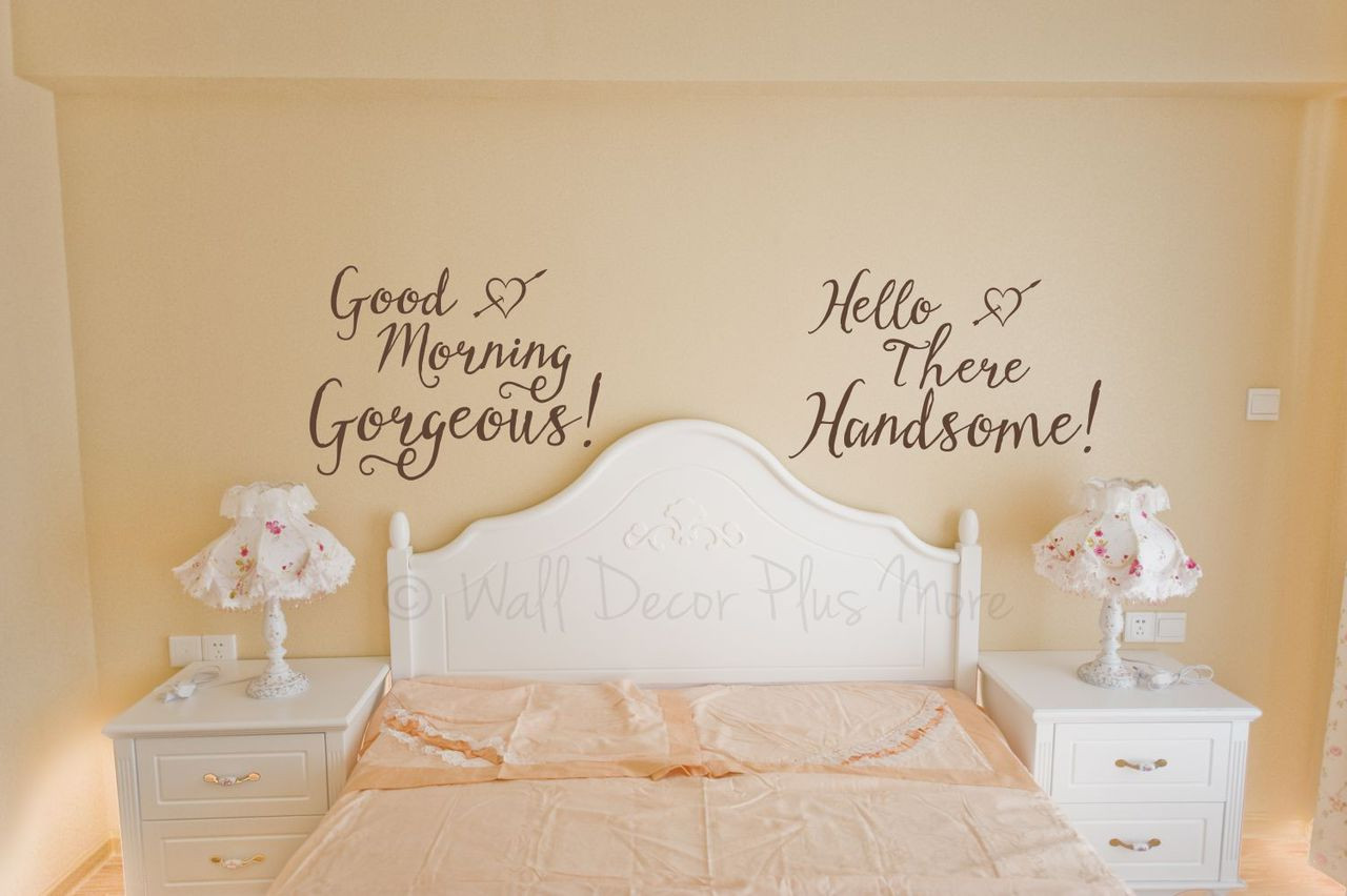 Gorgeous and Handsome Master Bedroom Vinyl Wall Decals Lettering