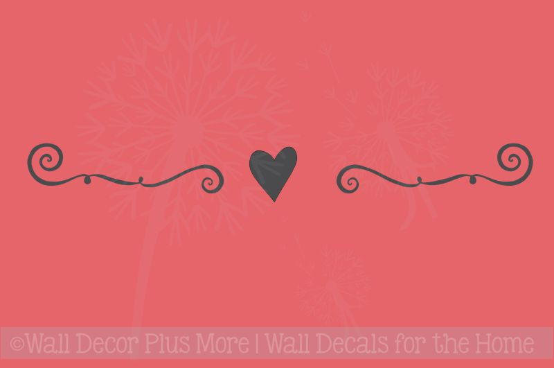 Wall Decor Plus More : Wall decal art swirl with heart design home decor vinyl