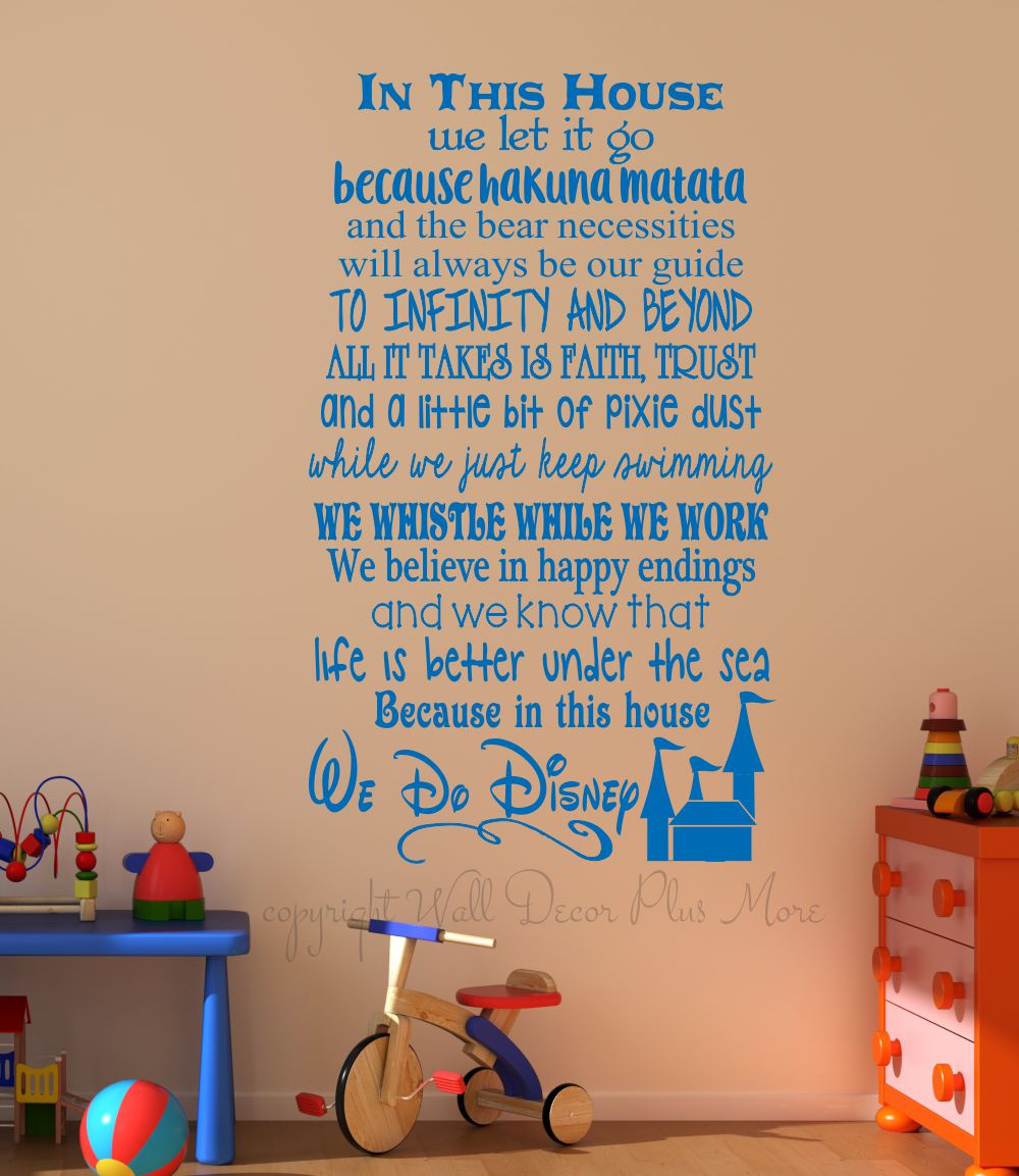 In This House.... We Do Disney, Wall Decals Letters, Wall. Loading Zoom Part 28
