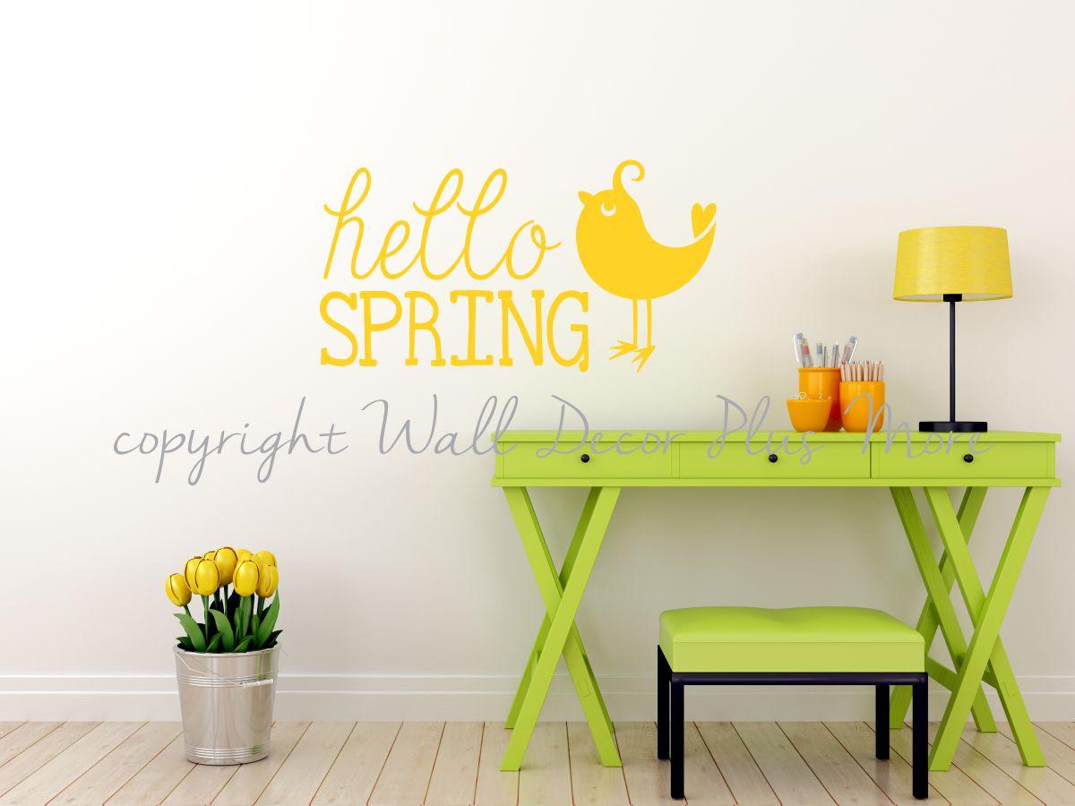 Hello Spring Wall Words Decals, Seasonal Vinyl Stickers with Bird Art
