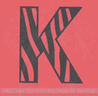 Zebra-Print Alphabet Letters Vinyl Wall Sticker Decals, 1pc, 11-Inch