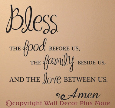 Bless food family love wall sticker decals kitchen quote for Kitchen design quotation