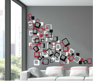 3 Color Funky Square Wall Vinyl Stickers Shapes
