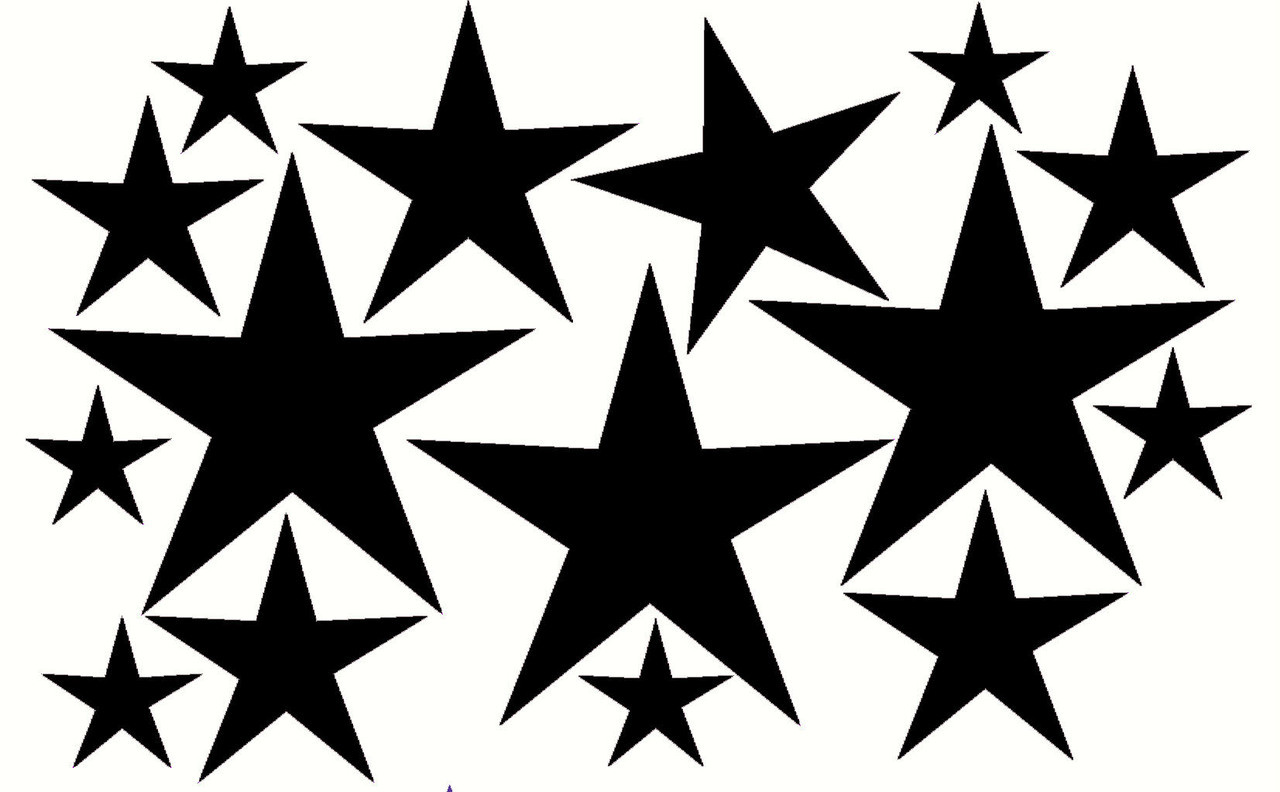 variety star wall stickers vinyl decals shapes 16 pc 8inch 2inch variety star wall stickers vinyl decals shapes loading zoom