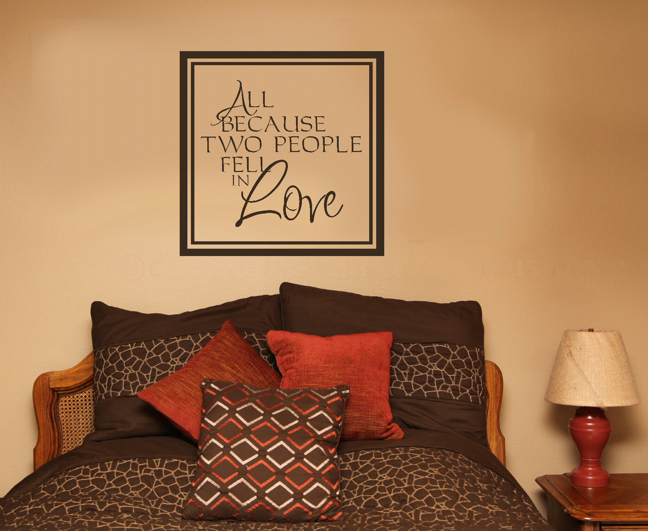 Bedroom wall art quotes - All Because Two People Fell In Love Quotes Wall Sticker Decals Sayings