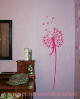 single dandelion wall decor vinyl decal stickers with floating petals 7x24hot pink