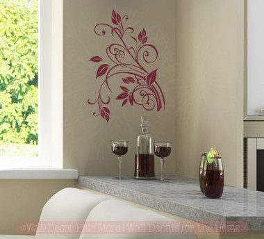 Small Floral2 Vine Wall Art Decal 9x13