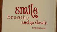 inspirational kitchen wall decal quote smile breathe