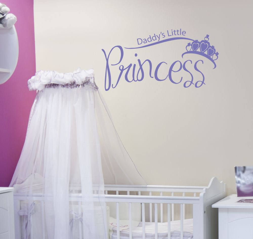 Daddys little princess with crown vinyl wall decal art stickers loading zoom amipublicfo Image collections