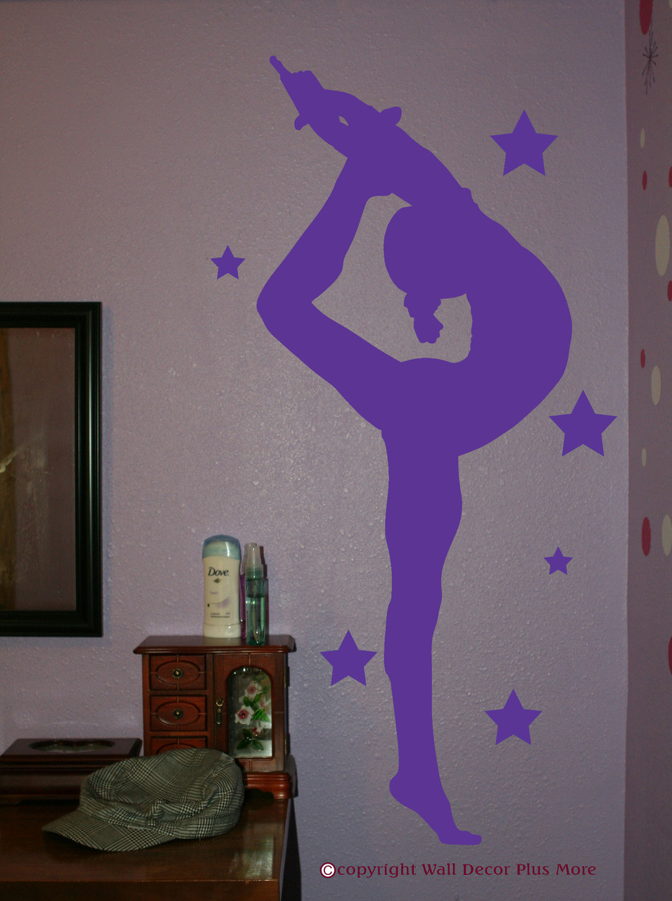 Gymnast Silhouette With Stars Girls Wall Sticker Vinyl Wall Art Decals.  Loading Zoom Part 89