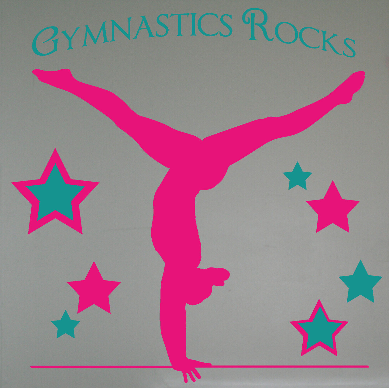 Balancing gymnast silhouette and stars with gymnastics rocks girls balancing gymnast silhouette and stars with gymnastics rocks girls wall stickers decals loading zoom amipublicfo Image collections