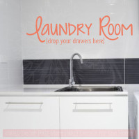 Laundry Room Drop your Drawers Here Vinyl Wall Decal Stickers Wall Letters-Coral