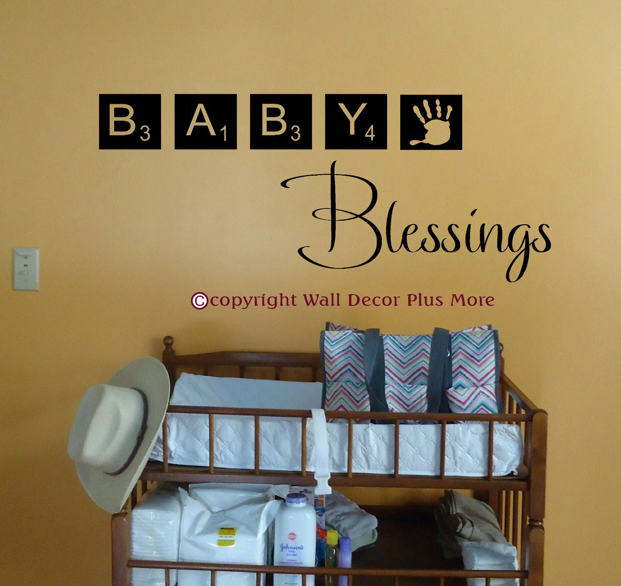 Baby Blessings Wall Sticker Decals Scrabble Tiles Wall Art Letters. Loading  Zoom
