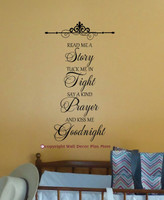 Read Me A Story...Kiss Me Goodnight Wall Decal Stickers Letters for Nursery Wall Decor