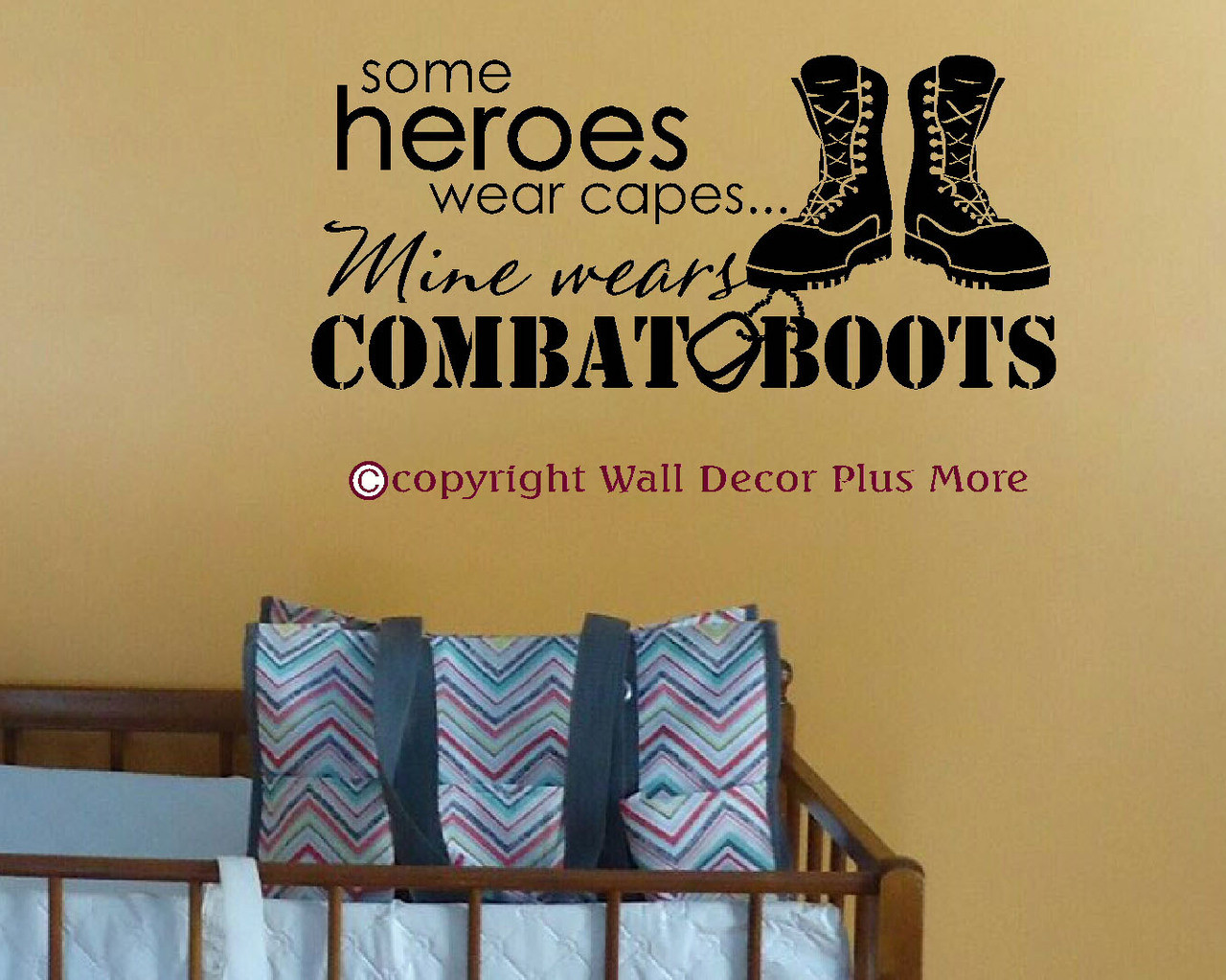 Some heroes wear capes mine wears combat boots wall decal loading zoom amipublicfo Gallery