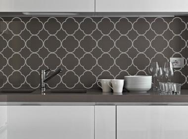 Quatrafoil Pattern Vinyl Wall Decal Sticker Shapes for Wall Décor Light Gray Kitchen Backsplash