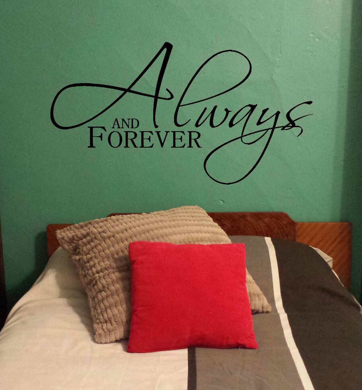 Always kiss me goodnight bedroom wall decals vinyl stickers love always and forever master bedroom love wall decal stickers vinyl wall letters amipublicfo Image collections