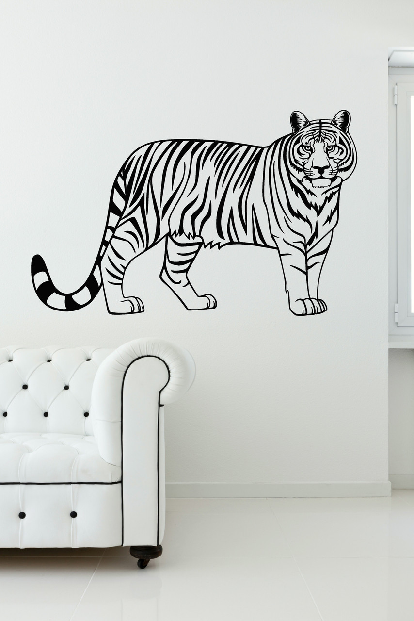 Tiger Jungle Animal Vinyl Wall Art Wall Decal Stickers For Home Decor.  Loading Zoom Part 74