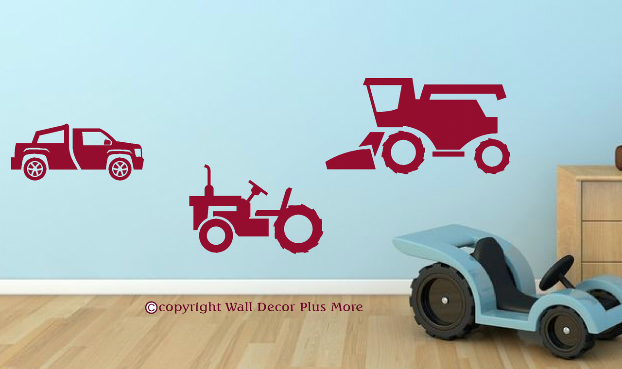 Boys farm wall stickers set of 3 combine tractor truck loading zoom amipublicfo Gallery