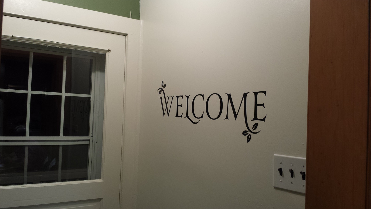 Foyer Office Quote : Welcome with leaves vinyl wall decal for entryway decor