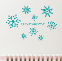 Snowflake Winter Decal Sticker Set with Let It Snow Lettering-Teal