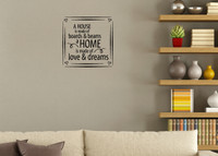 Home Made Of Love & Dreams Vinyl Wall Decal Saying for Home Decor