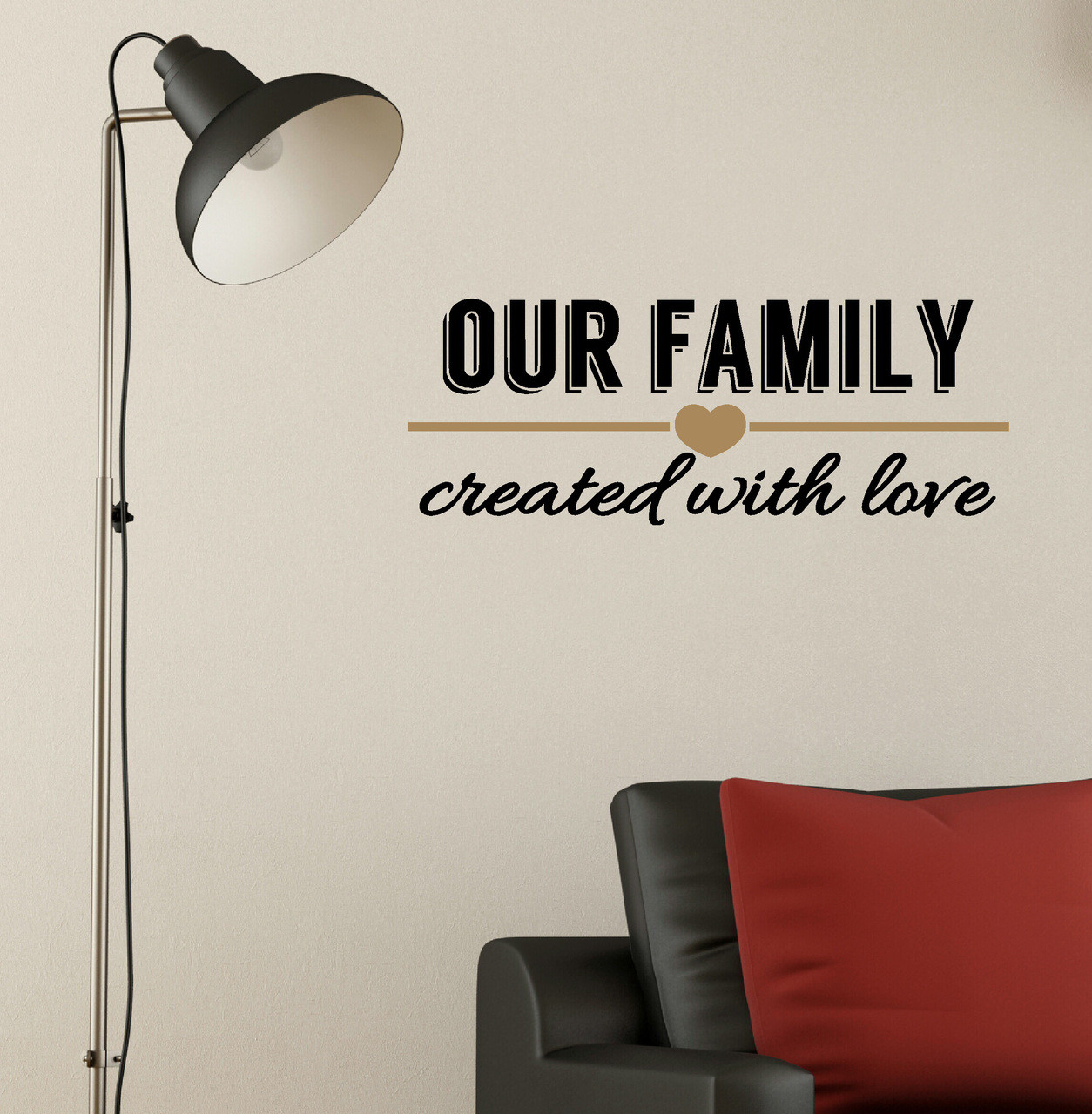 Our family created with love wall decal quote 2 color decorative loading zoom amipublicfo Choice Image