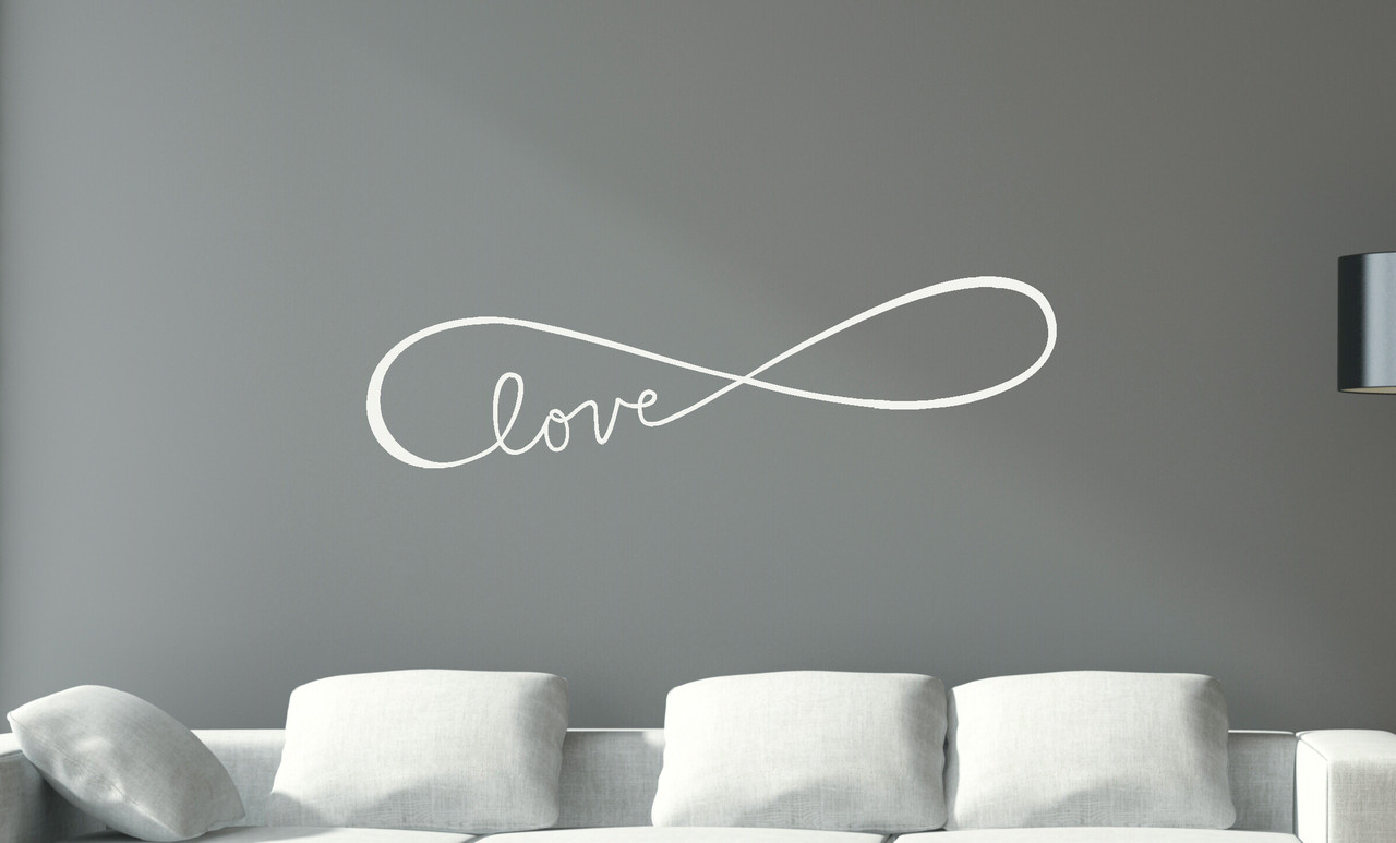 Infinity love wall decals art vinyl sticker for master bedroom or infinity love symbol wall decals stickers love quotes white loading zoom amipublicfo Choice Image