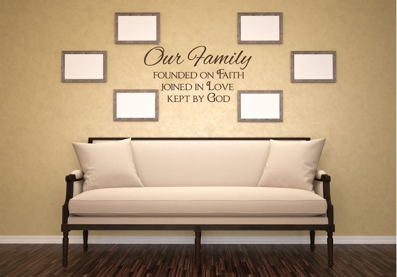 Merveilleux Our Family Founded On Faith Love God Wall Decal Quote Lettering Chocolate.  Loading Zoom