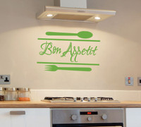 Bon Appetit Kitchen Wall Decal Quote Lime Green