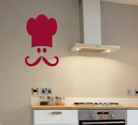 Chef's Face and Hat Kitchen Decor Wall Decal Sticker Art