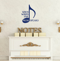When Words Fail Music Speaks Wall Decal Quote with Musical Note-Deep Blue