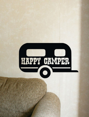 Happy Camper Summer Vinyl Wall Decals with Vintage Camper Design