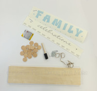 Family Celebrations Kit Board, Vinyl Decal, Wooden Circles, Hooks