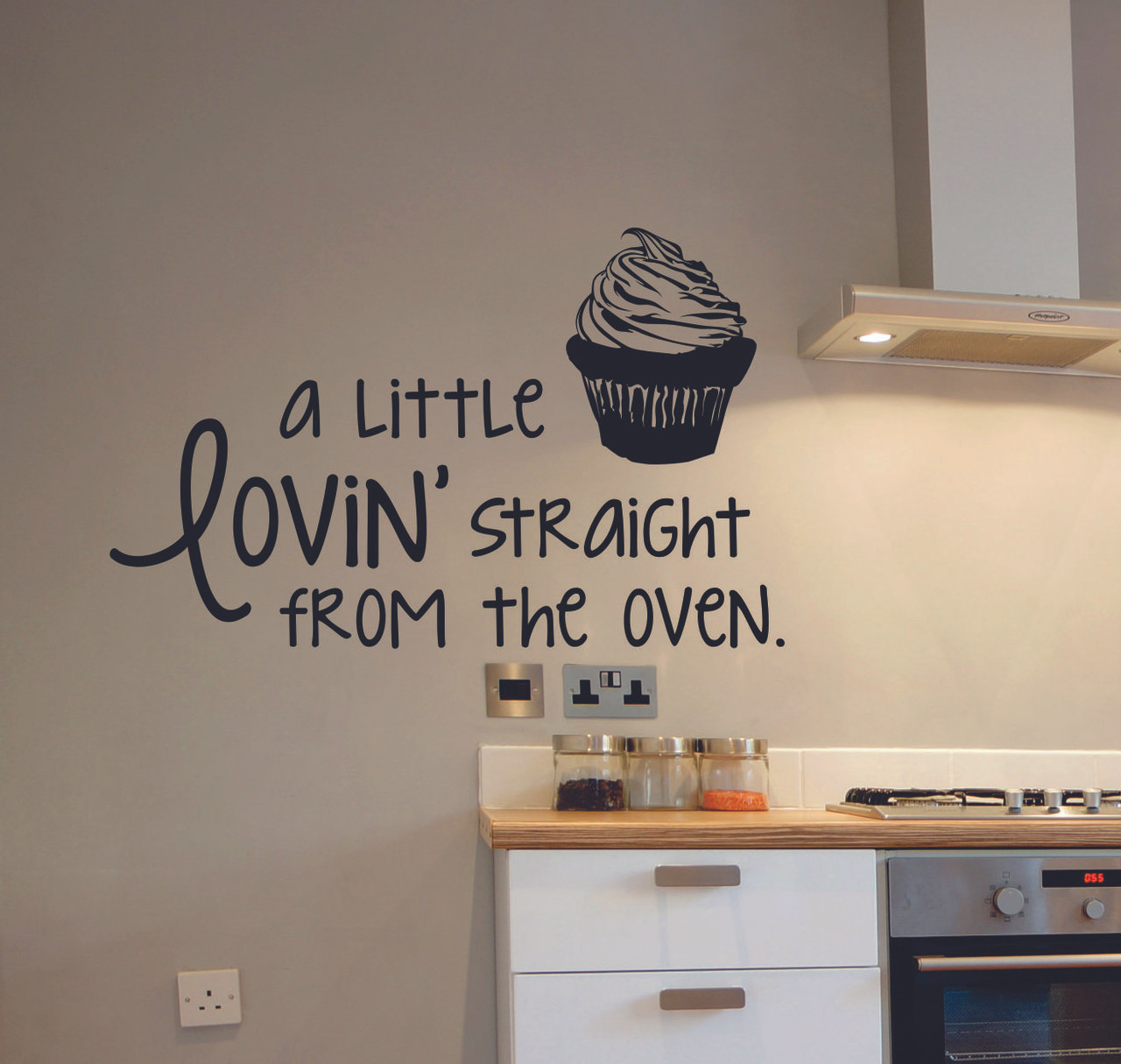 Kitchen Quote Wall Decals A Little Lovinu0027 Straight From The Oven With  Cupcake Art . Loading Zoom