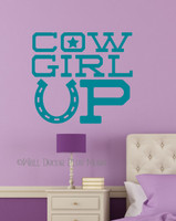 Cowgirl Up Western Wall Decals Vinyl Stickers-Teal