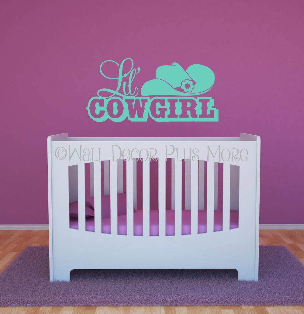lil cowgirl western with hat wall decals quotes vinyl sticker lil cowgirl western with hat wall decals girls room decor mint loading zoom
