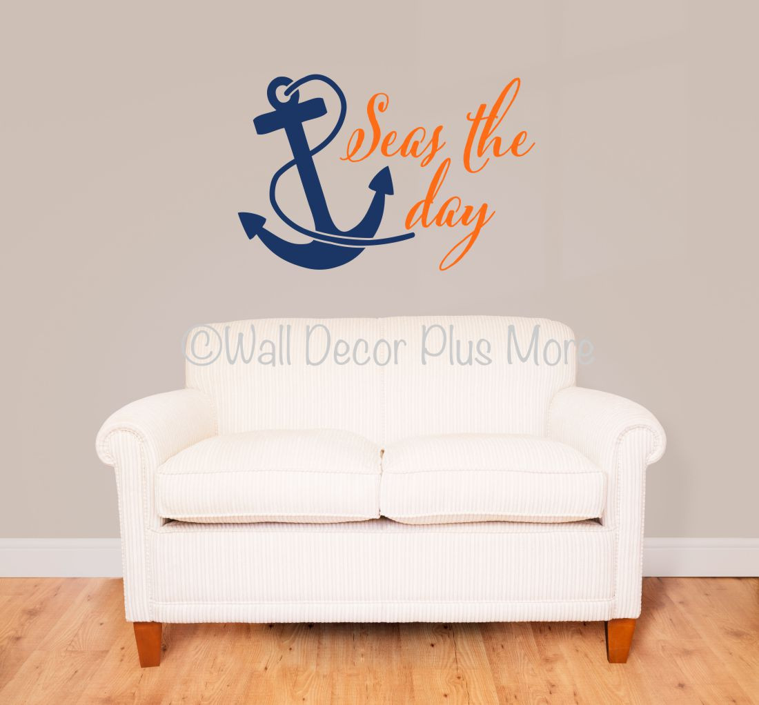 Seas The Day With Anchor Nautical Beach Summer Wall Decals Sticker - Wall decals beach quotes