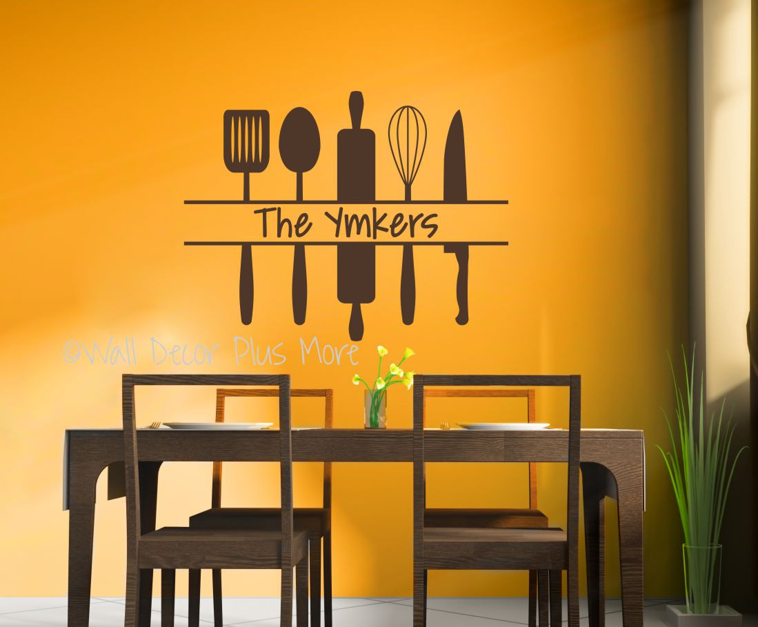 Personalized Kitchen Wall Art Custom Name With Utensils Decal Sticker Chocolate Loading Zoom