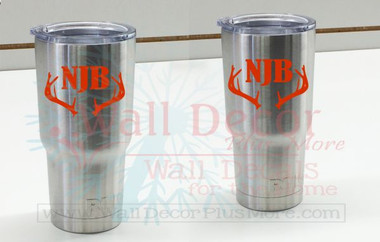 Monogram Vinyl Sticker Decals with Antlers for RTIC or Yeti Tumblers, Set of 2