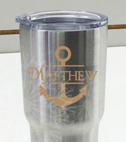 Monogram Vinyl Sticker Decals with Anchor for RTIC or Yeti Tumblers, Set of 2