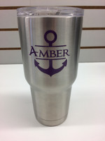 Name Vinyl Stickers Decals with Anchor for RTIC or Yeti Tumblers, 3x3-Inch, Set of 2