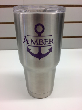 Name Vinyl Stickers Decals With Anchor For Rtic Or Yeti