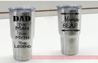 RTIC or Yeti Mug Tumbler Decals Mama Bear & Dad Legend Vinyl Stickers-Black