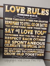 Wedding Gift Rules : ... Decals Love Rules Personalized Wedding Gift Date Canvas Print Wall Art